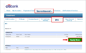 How to apply for ipo in citibank